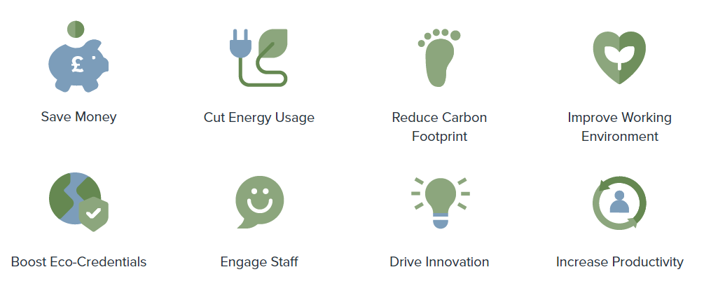 Icons showing low carbon grant benefits